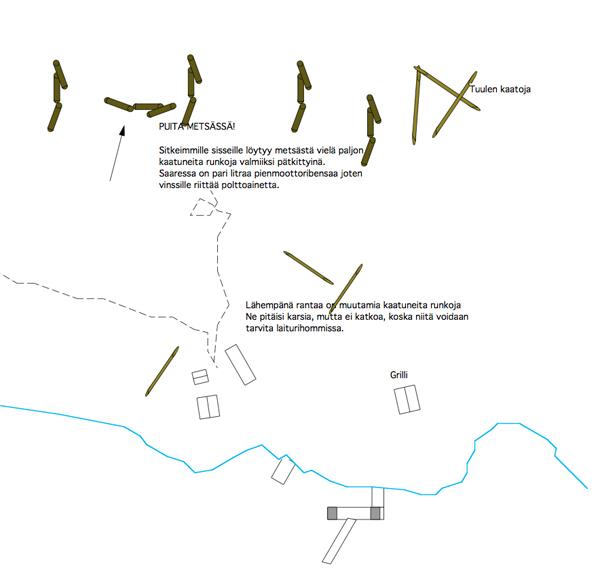 Kartta tuulenkaadoista onaksessa
